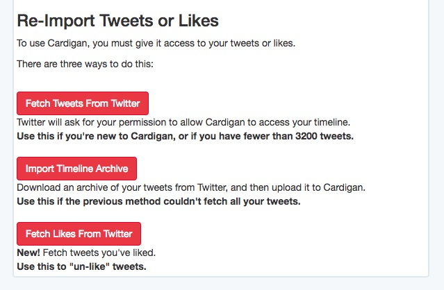 Import to Cardigan