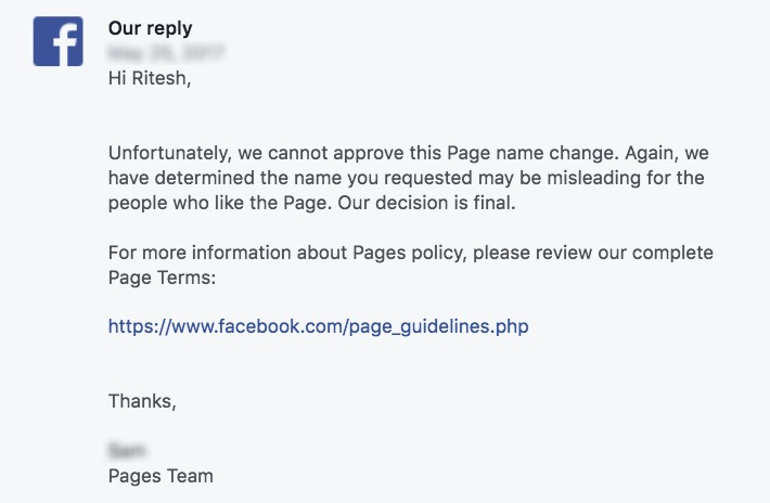 Facebook Page Name Change Appeal