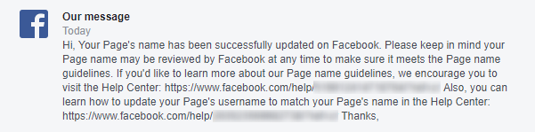 Facebook Page Name Change Request Approved