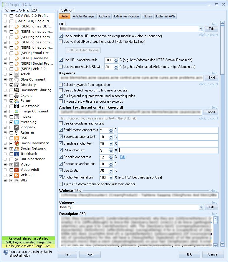 GSA SER Project Data