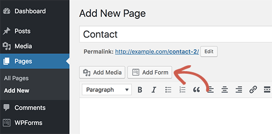 WPForms Add Form