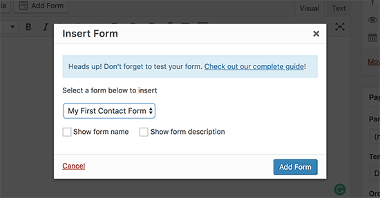 WPForms Insert Form