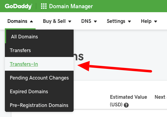 GoDaddy Domain Transfers-In