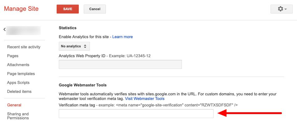 Google Sites Verification Meta Tag
