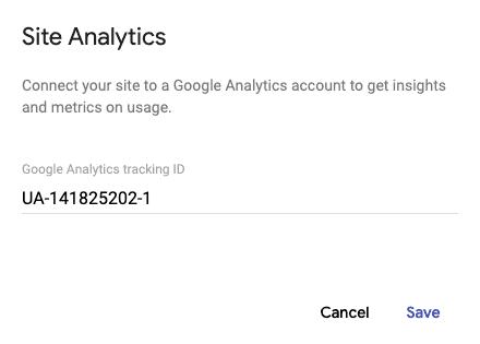 Site Analytics Code Google Sites