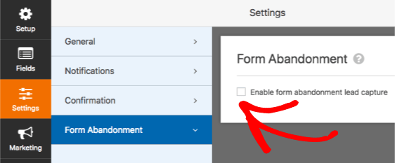 Enable Form Abandonment in WPForms