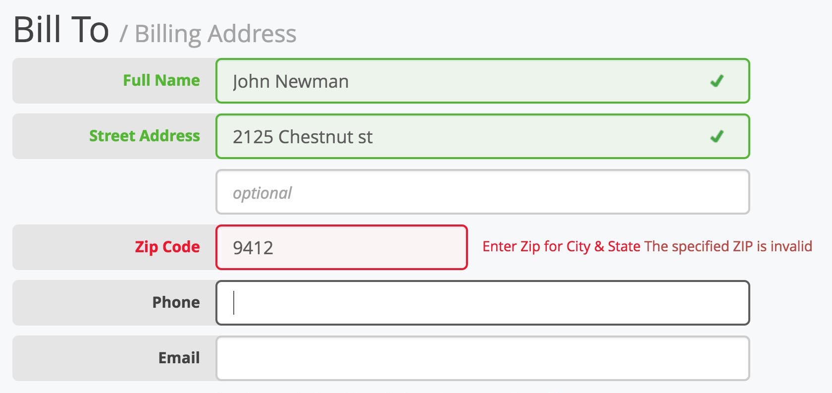 In-Line Form Validation