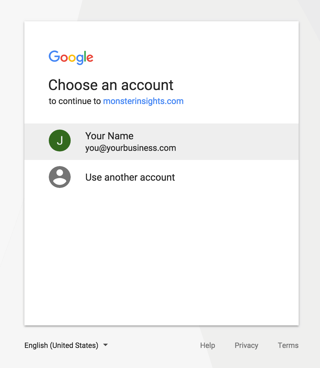 MonsterInsights Google Account Authentication