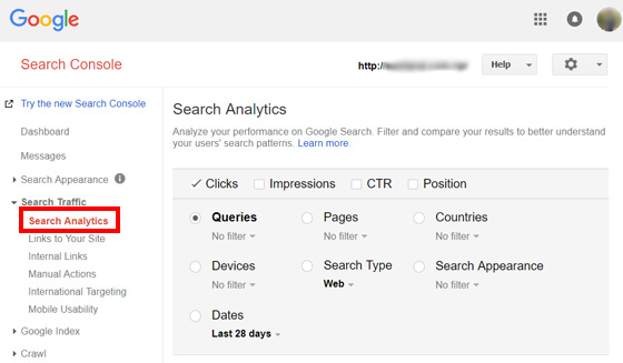 Search Analytics Console