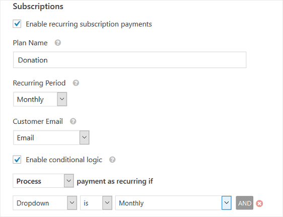 WPForms Enable Recurring Payments