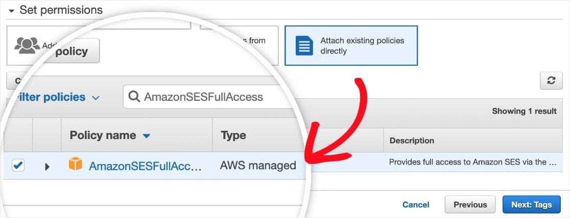 AmazonSESFullAccess