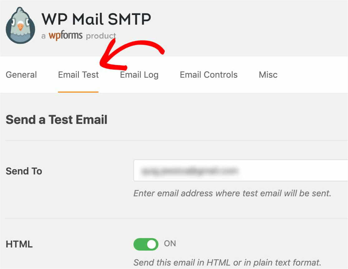 WP Mail SMTP Email Test