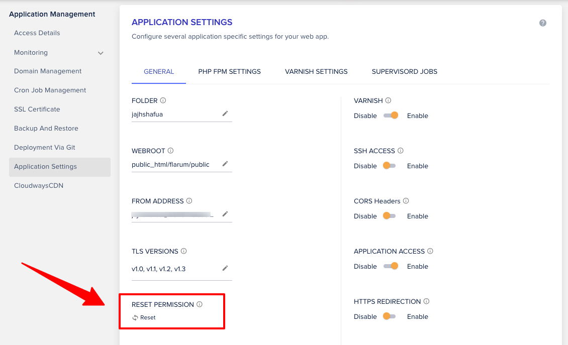 Cloudways Application Reset Permission