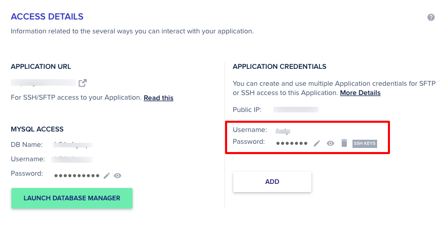 Cloudways Application SFTP Credentials