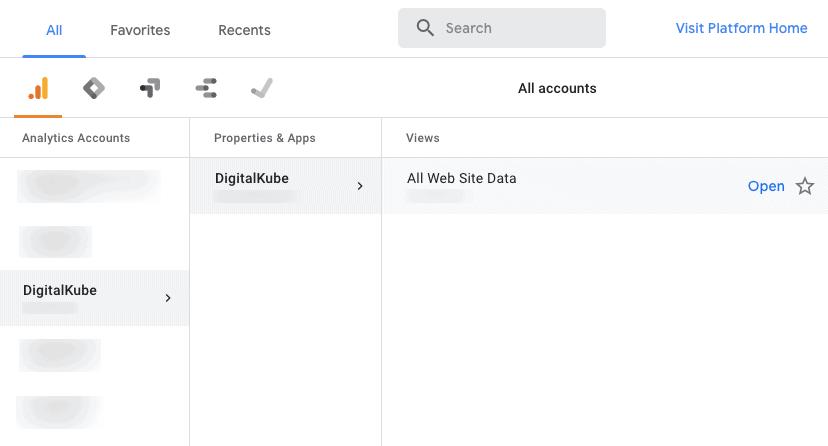 Select Google Analytics Property