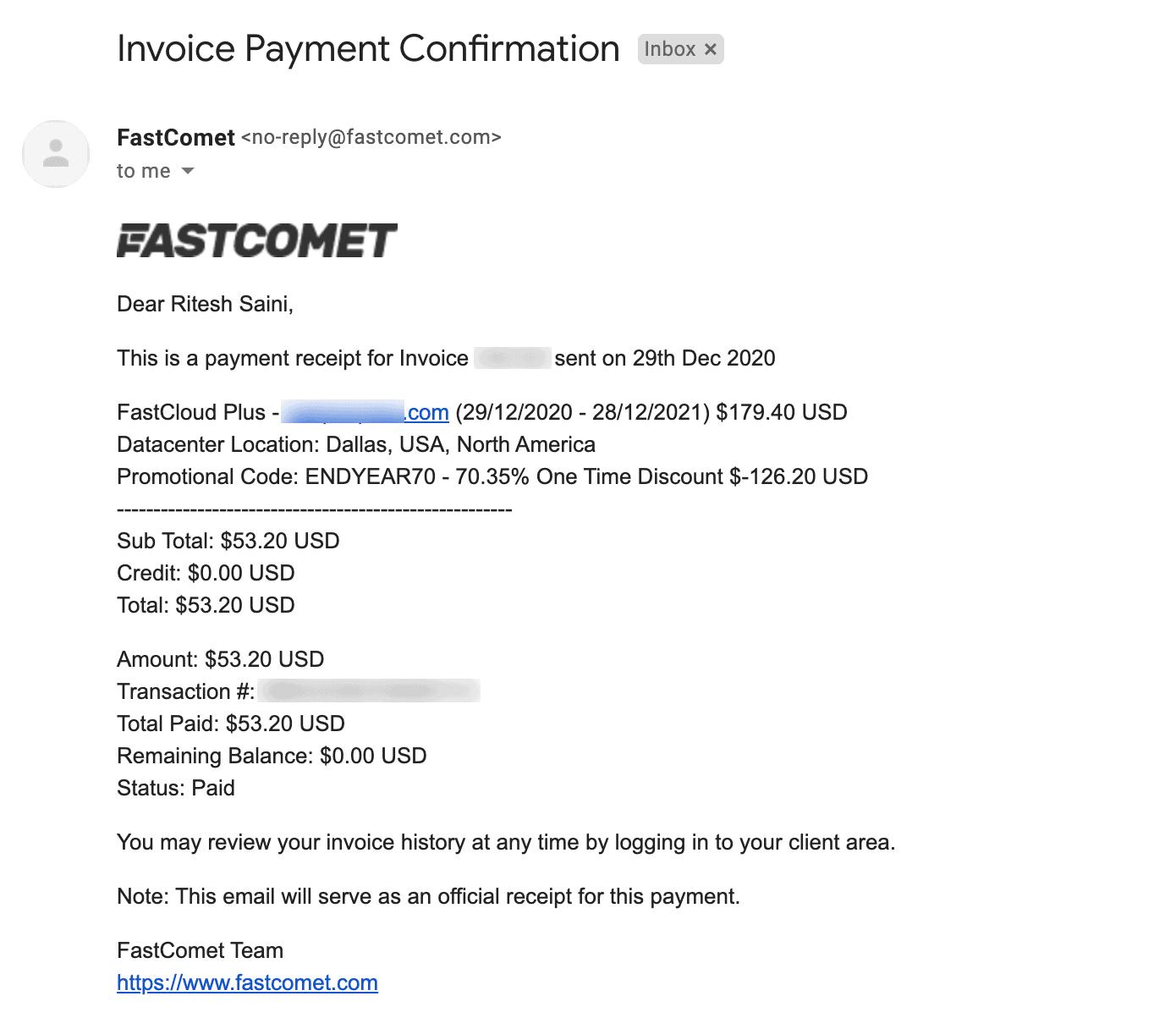 FastComet Receipt
